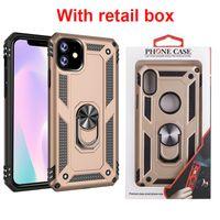 Pour iPhone 11 2019 XS MAX 7 8 Plus Anneau Defender Support Support Armure Téléphone Couvercle avec boîte de détail