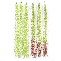 Flores decorativas grinaldas simulação folha verde diy decoração rattan clássico folhas home artificial salgueiro videira falsificada folha plástica pla
