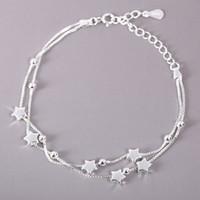 Cinque donne della stella braccialetto argento 925 perline argento fortunati dei monili della catena con chiusura Stamp bene monili eleganti braccialetti di fascino Regali per Ragazze