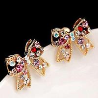Сладкий прекрасный лук кристалл серьги Красочный Кристалл Золото Bowknot Bow Chic стержня уха шарма серьги способа женщин ювелирных изделий Diamante Earing