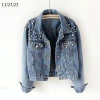 Luzuzi 5XL короткой джинсовой куртки женское жемчужное жемчужина из бисера с бисером свободные тонкие повседневные джинсы бомбардировщики женщины весна осень новое пальто