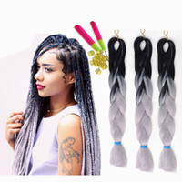 Xpression 꼰 머리 합성 머리 두 톤 블랙 브라운 점보 braids 벌크 확장 cheveux 24inch ombre 열정 트위스트 크로 셰 뜨개질