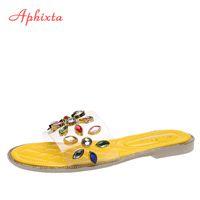 Aphixta Colorful Rhinestones Flat Heel Slippers Women Shoes Jewellery Crystals Mules Slides Summer Outdoor Female Flip Flops