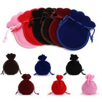 Mini sac à cordonnet Pure Color Velvet Bijoux bonbons Cadeaux poches Wedding Party Sacs d'emballage Vente chaude 0 45dy E1