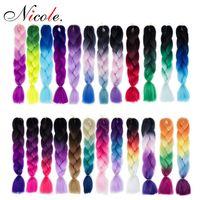 Nicole iki ton ombre tığ örgüler saç kanekalon jumbo örgüler sentetik saç uzatma sentetik örgü saç kadınlar için daha fazla renk