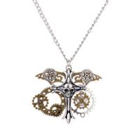 الأزياء والمجوهرات 3 قطعة / الوحدة steampunk سلسلة شخصية الجمجمة الصليب والعتاد قلادة قلادة مقص مجوهرات تصفيف الشعر هدية a159
