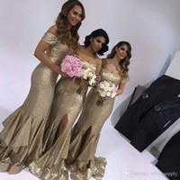 2018 сексуальные золотые блестки подружки невесты платья с плеча с покрытыми рукавами молния назад длинная щельница женщина невесты невесты платье женщин