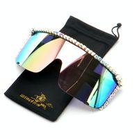 أزياء 2019 حجر الراين النظارات الشمسية للمرأة الماس نظارات شمسية سوداء إطار مربع كبير UV400 FML