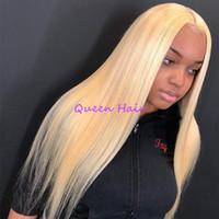 180% de densidade completa longos cabelos retos de seda # 613 cor loira Nenhum laço perucas de luvas resistentes a calor de fibra cabelo cabelo bebê cabelo mulheres