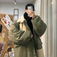 Мужские пушистые Parkas 2021 Uюк зимняя мода сращивания цветных контрастных тенденций свободный молодежный стиль колледжа толстый средний длинный баранина пальто Homme одежда