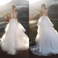 Sexy Illusion Bodice Plus Size Wedding Dresses Tiered Skirts...