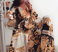 Kadınlar Parti Elbise Boho Wrap Yaz V Yaka Londra Elbise Tatil Maxi Gevşek Sundress Çiçek Baskı Uzun Kollu Elegante Elbiseler