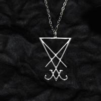 Sceau de Lucifer satanique Sigil de Baphomet en métal collier pendentif en or noir gothique Pagan Satan Mode homme Accessoires Bijoux