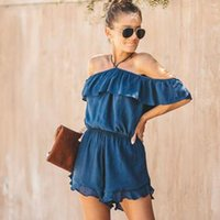 Women Fashion Halter Neck Strapless Solid Ruffle Romper Summ...