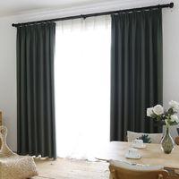 Faux lino 70% -85% de sombreado por encargo aislante estilo moderno color sólido cortina del apagón para sala de estar Decoración por la Ventana