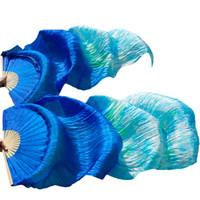 Bühnenabnutzung 180 * 90 cm Frauen Kostüm Bambus lange Seide Fans Schleier Fan Handmade Bunte Bauchtanz Royal Blue + Gemischte Farben