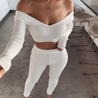 Autumn Ribbed Casual Two Piece Set Women Long Sleeve High Wa...