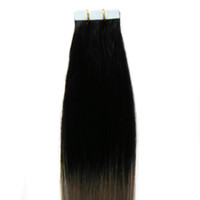 """12 """"-24"""" лента в наращивании человеческих волос серый ombre человеческие волосы 40шт лента в наращивании волос человеческий PU бесшовные уток кожи"""
