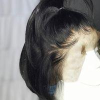 Cheveux Lace Front perruques pour les femmes noires courte perruque Bob conchyliculture Pré Pincées Nœuds droite Blanchis dentelle perruque partie médiane