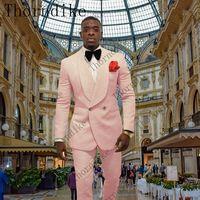 2019 Hellrosa Paisley-Smoking Hochzeitsanzüge für Männer Britischer Stil Maßanzug Herren Slim Fit Blazer (Jacke + Hose)