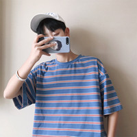 Man T Shirt Summer New Men' s Striped Short- sleeved T- sh...
