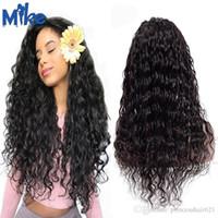 Дешевая плотность 150% натуральный черный 100% человеческих волос бразильская волна воды полный парик шнурка