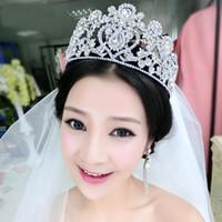 Yeni Trendy Düğün Gelin Kristal Rhinestone Gümüş Kraliçe Bantlar Tiara Başlığı Prenses Saç Aksesuarları Pageant Balo Takı Parti