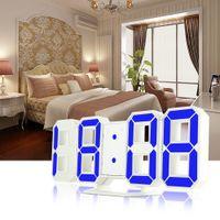 3D LED Digitala väckarklockor 24/12 timmar Display 3 Ljusstyrka Nivåer Dimbar Nattljus Snooze Funktion för Home Kitchen Office