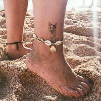 Femmes Boho Shell Charm Anklets Fiely Girl Girl Barefoot Sandales Ankle Bracelet Été Plage Seashell Pied Bijoux Cadeau LJJT1421-6