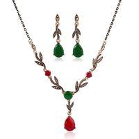 الرجعية قطرة الماء كريستال الماس تتدلى الأقراط قلادة قلادة لومي ليف ربط سلسلة القلائد الفاخرة الأحمر الأخضر الأحجار الكريمة والمجوهرات مجموعة