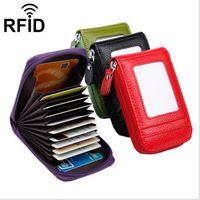 Titular do Cartão de Crédito De Couro genuíno Caso RFID Bloqueio 9 Slots De Cartão Moeda Zipper Bolso Bag Bifold Mulheres Homens Carteira de Presente