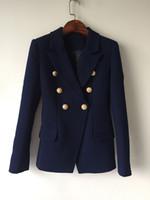 Высокое Качество Дизайнер Моды Блейзер Куртка Женщин Золотые Кнопки Двубортный Темно-Синий Тонкий Блейзеры Верхняя Одежда Женщины Костюмы Пальто Одежда D7