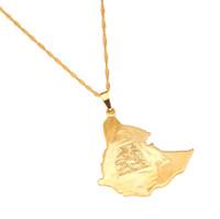 Mapa Ehiopian Africano Pingente Colares Mulheres Homens Jóias De Ouro África Colar De Corrente De Ouro Leão Mapa Jóias