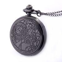 Presente Corrente preta Bronze Cor Prata Disponível completa Quartz gravado Fob Retro Pingente Pocket Watch