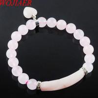 Wojiier Natural Piedra Beads Rose Cuarzo Strand Pulseras Brazaletes Forma de corazón Forma de Color Plateado Mujeres Joyería Regalos De Amor DK3341