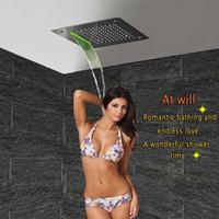 Baño de lujo LED Accesorios de Cabeza de Ducha de Techo SUS304 400x400mm Funciones Lluvia Cascada Mist Shower DF5326