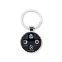 Creative-Videospiel-Controller-Muster Keychain handgemachte runde Glasschlüsselring-Geschenk für Jungen Bag Charm Llaveros Para Hombre