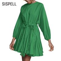 Abiti casual Sispell Solid Mini Donne Delle Donne Vestito O Collo Manica Lunga Bandaggio Arco Alto Vita Piegata Femminile Fashion Fashion 2021