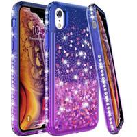 Para Iphone (5,8) (6,1) (6,5) 2019 XS Max XR X 8 7 6 Plus líquido manera arena movediza Diseño Bling de golpes de teléfono cubierta de la caja