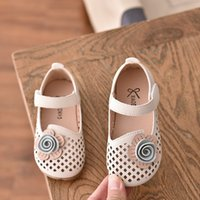 Girls Leather Shoes Spring Summer Cut- outs Flower Princess S...
