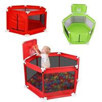 Складные дети Playpen Детский забор Безопасный барьер для кровати Бассейн мяч 0-6 лет Детская игра Playpen Оксфорд ткань бассейн шарики детский забор
