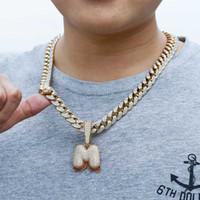 CZ Fashion- فقاعة زركون الرجال A-Z الكبير رسائل الكوبية ربط سلسلة قلادة مثلج خارج كامل الماس الأحرف الأولى الهيب هوب مجوهرات للبنين