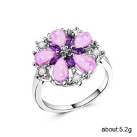 925 jóias de prata esterlina anel de tesouro requintado de cinco pétalas de flores anéis de opala aço inoxidável rosa de ouro jade amethystB1453