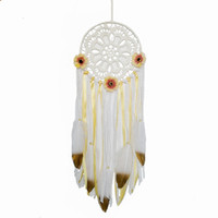 Boho Dream Catchers Handmade White Gold Feather Dreamcaters ...