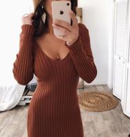 Çift V Kadınlar Seksi BODYCON Uzun Elbise Sonbahar Kış Örgü Uzun kollu Çizgili Elbise Giyim