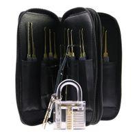 최고 품질 스테인레스 스틸 24PCS GOSO 잠금 가죽 가방 + 투명 자물쇠 연습 잠금과 빠른 자물쇠 따기 자물쇠 잠금 오프너 시설