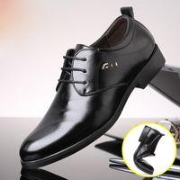 2018 nuevo de la manera con cordones de los hombres formal cuero de la PU de los hombres de negocios zapatos de alta calidad de los hombres zapatos de vestir Pisos 1