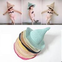 Le ragazze del cappello di paglia dei bambini di Sun esterna del bambino della molla bambini Beach paglia Caps Tessuti a mano Strega Spiky Sunscreen visiera Rrass donna cappello AAA2239-11