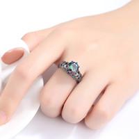 Череп кольца для женщин мужчины панк стиль красочные Циркон серебряный цвет палец кольцо партии подарок мода ювелирные изделия KAR336