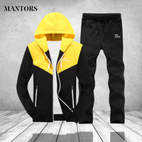 Casual Men Tracksuit Set Fashion Two Piece Sets Hooded Sweat...